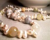 Necklace and Bracelet Set - Pearl and Aquamarine Free Shipping