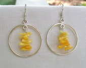 Yellow Coral and Sterling Silver Earrings