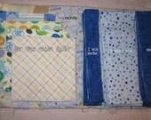 My first quilt kit - Baby boy (blue, orange, teal, brown) - FREE SHIPPING