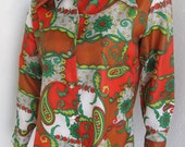 1960s Paisley Blouse in Red Yellow Green White and Brown Nylon made in Okinawa by Grants