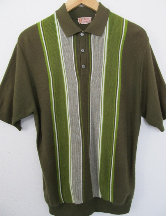 """1950s Mens Knit Pullover Shirt in Green Orlon by """"New York"""""""