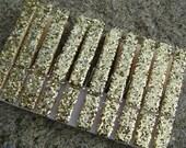 gold . glitter clothespins