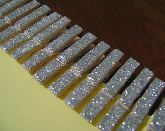 silver . petite . glitter clothespins . 30