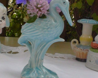 Vintage Pie Vent or Funnel. Blue Stork or Heron. Delicate.