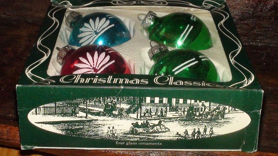4 Vintage Glass Christmas Tree Decorations. Made in the USA. Red Blue and Green with White Detail. In original Box.