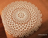 Moving Clearance---1 pc white handmade tatting lace doily/placemat
