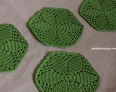 4 pcs hexagonal green hand crocheted placemat/coaster