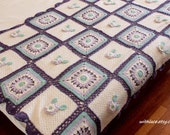 On Sale---1 pc unused vintage colorful crocheted and knitted patchwork throw blanket/Afghan blanket---54''X56''