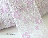 Moving Clearance---4 yds lilac floral stretch lace on white---3 1/4''