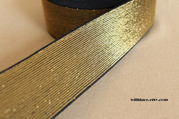 3.5 yds single side metallic gold elastic band ---2''