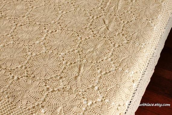 ON SALE---1 pc unused vintage beige crocheted throw blanket/Afghan blanket/table cloth---48''X66''