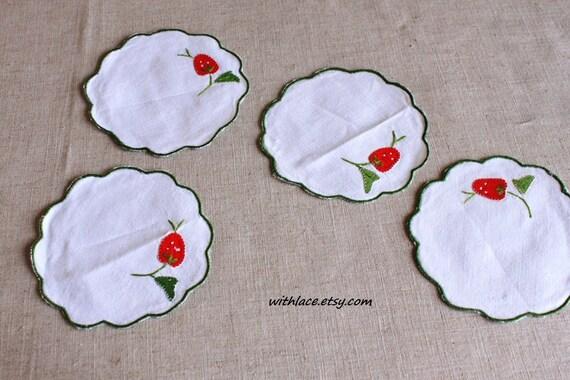 12 pcs vintage small strawberry applique doily/placemat