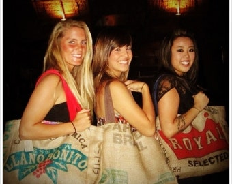 3 Eco-Friendly Semi Custom Tote Bags - Handmade from Recycled Coffee Sacks