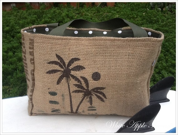 Eco-Friendly Beach Palms Market Tote, Handmade from a Recycled Coffee Sack