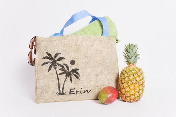 15 Custom Destination Wedding Welcome Beach Tote Bags - Eco-Friendly and Handmade from Recycled Coffee Sacks CC
