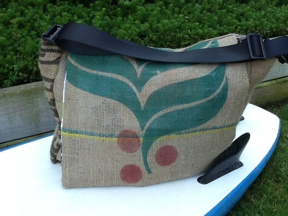 Eco Friendly Messenger Bag, Handmade from a Recycled Coffee Sack