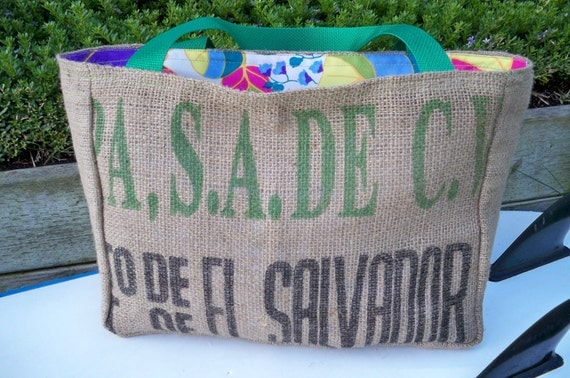 El Salvador Eco-Friendly Market Tote, Handmade from a Recycled Coffee Sack