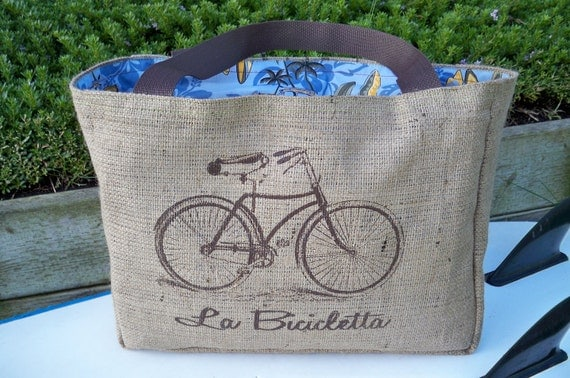 Eco-Friendly Bicycle Tote Bag, Handmade from a Recycled Coffee Sack