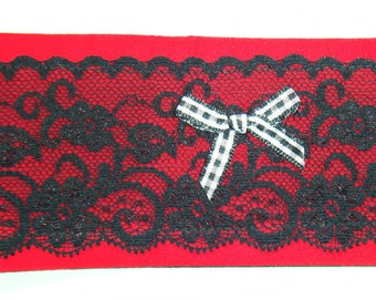 Red Fabric Cuff Bracelet with Black Lace and Bow