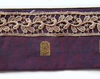 Indian Silk Cuff with Golden Lace and button