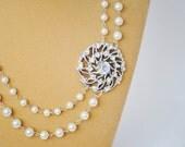 Vintage Brooch Glass Pearl Bridal Necklace - Something Old