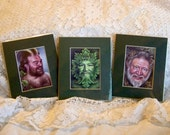 Mythic Images aceos, GreenMan, Man O' the Woods, Satyr, set of three, matted, ready to display