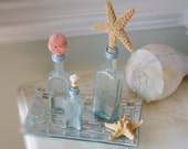 Set of 3 Vintage Aqua Glass Seashell Bottles - Starfish, Sea Urchin and Cone Shell