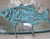 Beach Decor Cast Iron Fish Wall Hook - Ocean Blue Green Verdigris