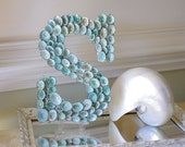 Beach House Seashell Decor Limpet Shell Sign Letter Monogram - Aqua