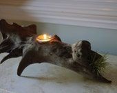 Driftwood Votive Candle Holder with Air Plant