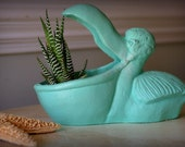 "Beach Decor Pelican Planter ""Gertrude the Pelican"""