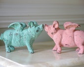 Home Decor Cast Iron Flying Pig - Mint Green Pig
