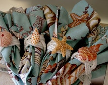 Beach Decor  Turks Head Knot Napkins Rings with Sea Life - Set of 4