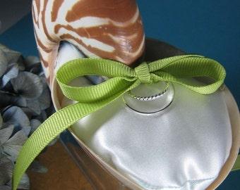 Beach Wedding Natural Nautilus Shell Ring Bearer Pillow
