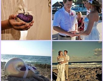 Beach Wedding Pearl Nautilus Shell Ring Bearer Pillow