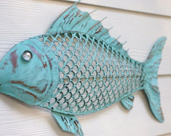 Beach Wall Decor Metal Fish - Blue Green Patina