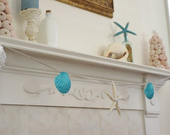 Beach Decor Mantel Fireplace Garland -  Starfish and Seashell - Silver and Aqua Sparkling Garland