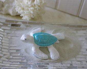 Beach Decor Cast Iron Baby Sea Turtle - White and Metallic Turquoise