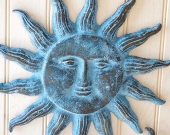 Cast Iron Sun Face Wall Decor - Ocean Blue