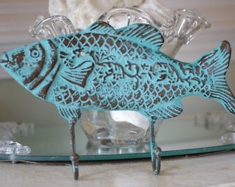 Beach Decor Cast Iron Fish Wall Hook - Ocean Blue Green Verdigris