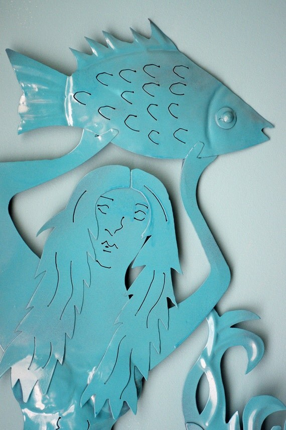 Mermaid Beach Wall Decor Metal - Turquoise