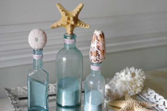 Beach Decor Set of 3 Vintage Aqua Sea Life Bottles with Knobby Starfish, Sea Urchin and Cone Shell