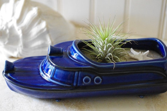 Beach Decor Vintage Yacht Planter - Nautical Blue with Air Plant and Starfish