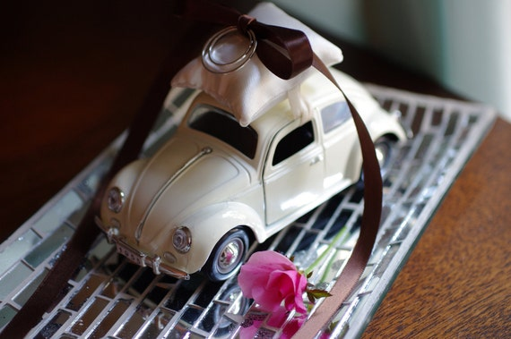 Wedding Ivory Volkswagon Bug Toy Car Ring Bearer Pillow