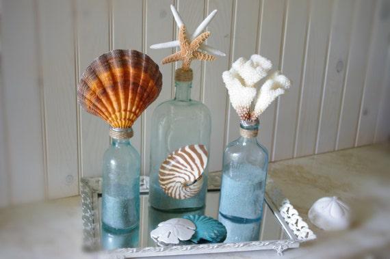 Beach Decor Aqua Bottle with Coral - Vintage Medicine Bottle