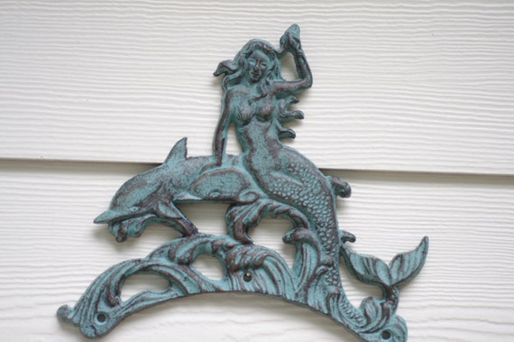 Beach Wall Decor Cast Iron Mermaid and Dolphin - Patina Blue or PICK YOUR COLOR