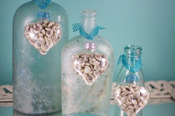 Beach Decor Seashell Heart Ornaments - Set of 3 Glass Heart Shape Ornaments