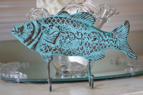 Beach Ocean Wall Decor : Beach decor cast iron fish wall hook ocean by
