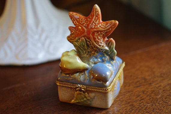 Vintage Ceramic Starfish And Seashell By Bytheseashoredecor