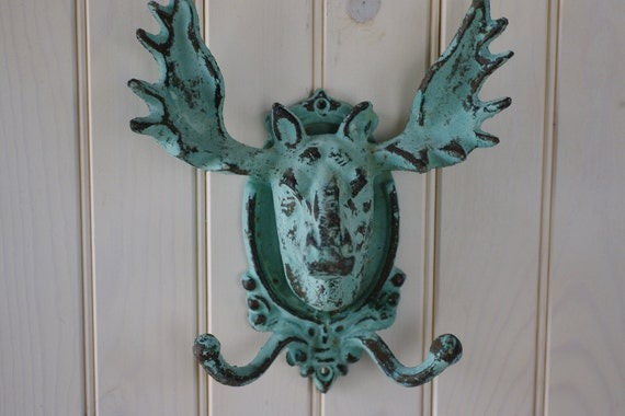 Home Decor Cast Iron Moose Double Wall Hook - Blue Green Patina
